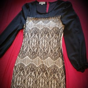 Black and tan sleeved dress- above the knee